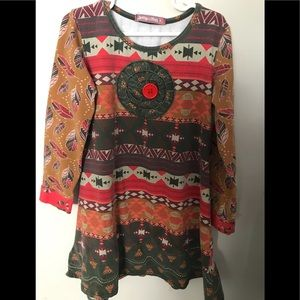 Jelly the Pug Size 8 Dress Aztec Print